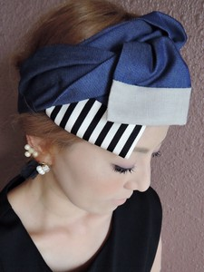 Ribbon Turban Denim Stripe Easy