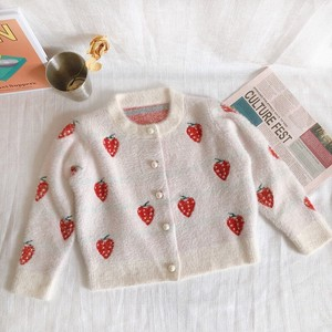 Girl Strawberry Knitted Jacket A/W Outerwear Cardigan Kids Children's Clothing