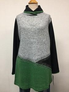 【2019年新作】ジルコン付きカラー切り替え襟付きチュニック