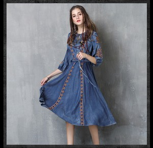 Ladies Embroidery Denim One-piece Dress Ethnic One-piece Dress