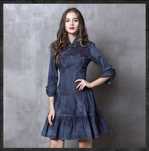 Ladies Three-Quarter Length Sleeve Length Denim One-piece Dress Ethnic One-piece Dress