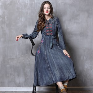 Ladies Embroidery Denim One-piece Dress Ethnic Long Sleeve One-piece Dress