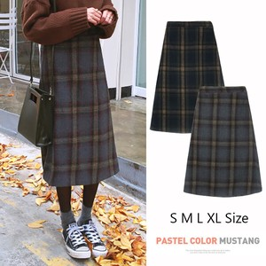 Long Skirt Bottom Line High-waisted Thick Medium Half Checkered Skirt