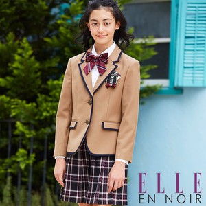 ELLE Brand Girls Graduate Camel Color Piping Checkered Pattern Skirt Suit Set