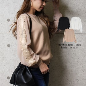 Top Pearl Attached Knitted Top Lace Chiffon Long Sleeve Early Spring