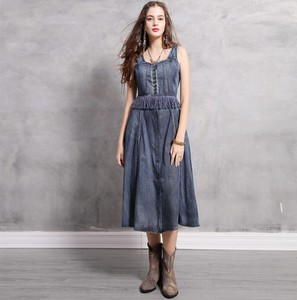 Ladies Denim Tank Top One-piece Dress Sleeveless One-piece Dress