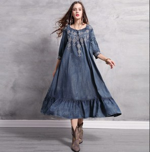Ladies Over Denim One-piece Dress Embroidery Long One-piece Dress