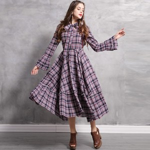 Ladies Checkered Long Sleeve One-piece Dress Long Sleeve Long One-piece Dress