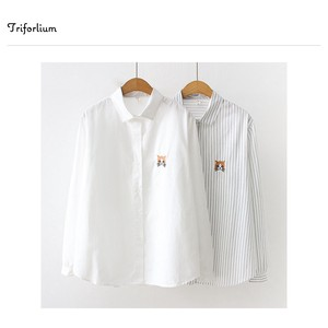 2 Colors Cat One Point Embroidery Blouse