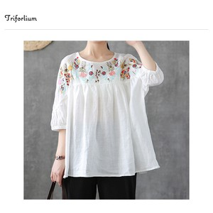 [ 2020NewItem ] 2 Colors Cotton Material Embroidery Blouse