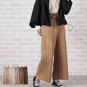 A/W Belt Attached Pleats Pants ponte fabric Suede