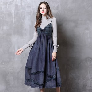 Ladies Denim Camisole One-piece Dress Retro Sleeveless One-piece Dress