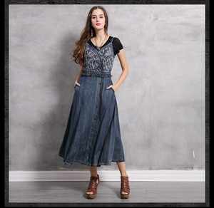Ladies Denim Camisole One-piece Dress Embroidery Sleeveless One-piece Dress