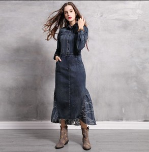 Ladies All-in-one Denim One-piece Dress Retro Long One-piece Dress
