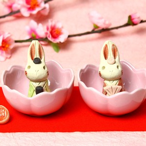 Flower Cherry-Blossom Rabbit Ceramic Handmade Hina Doll Rabbit Rabbit