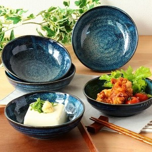 Kiln Change Navy Mini Dish 5 Pcs Mino Ware Plates & Utensil Mini Dish Kiln Change Navy