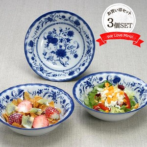 Blue Oatmeal 3 Pcs Ceramic Mino Ware Bowl Floral Pattern Blue