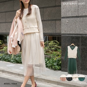 Knitted Ring Vest Pleats One-piece Dress Set Long Sleeve One-piece Dress