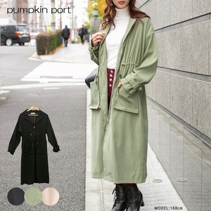Polyester Peach Ring Tailored Long Coat