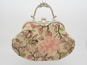 気持ち華やぐがま口バッグ(口金21センチ)柔らかい感じの花柄