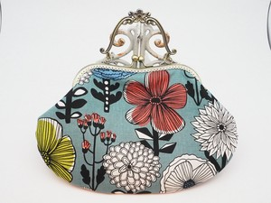 Feeling Coin Purse Bag Base Floral Pattern Blue