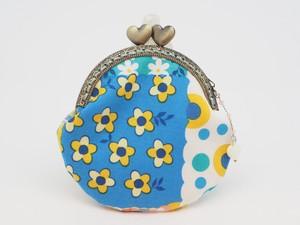 気持ち華やぐがま口ポーチ・コインケース(口金8.5センチ)花柄・ブルー系