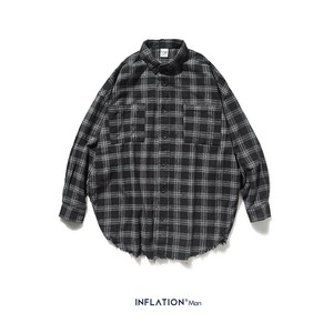 Men's Checkered Long Sleeve Shirt Over Street Outerwear