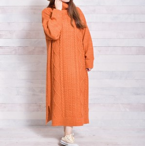 Cable Turtle Neck Knitted One-piece Dress