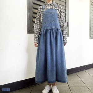 Adult Long Denim Flare Zip‐up Jacket Skirt