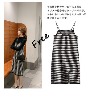 One-piece Dress Houndstooth Line Long Leisurely Camisole One-piece Dress Plain Leisurely