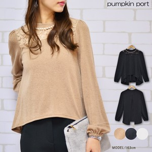 Powder Knitted Pearl Attached Petit High Neck Long Sleeve Pullover