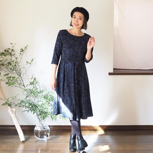 One-piece Dress Botanical Black Thick Fabric Denim Material