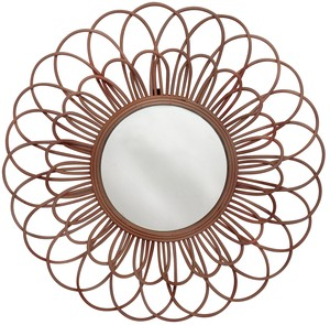 Flower Mirror Dark Brown