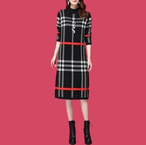 Luxury Cashmere Fashion One-piece Dress Knitted One-piece Dress Grid Pattern Black