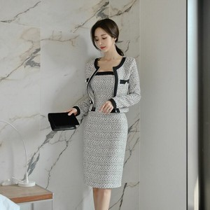Top One-piece Dress 2 Pcs Set One-piece Dress Ladies Korea Jacket Formal