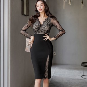 One-piece Dress Dress One-piece Dress Party Dress Lace Long Sleeve Knee-high