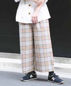 Waffle Checkered wide pants