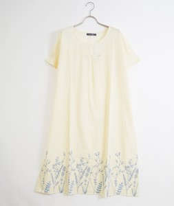 Seven Spring Herbs Panel Embroidery One-piece Dress