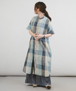 [ 2020NewItem ] Cotton Checkered Shirt Gather One-piece Dress