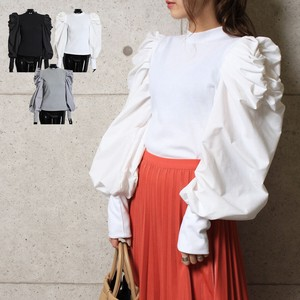 Top Power Shoulder Top Gather Shoulder Volume Sleeve Long Sleeve Knitted