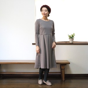 One-piece Dress Retro Checkered Jacquard Knitted Fabric