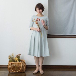 One-piece Dress Gingham Check Light Grey Fabric