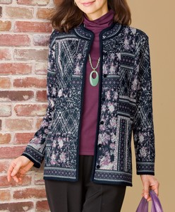 Patchwork Floral Pattern Card Knitted Jacket