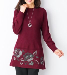 Floral Pattern Card Tunic Sweater