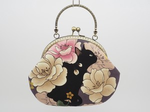 Feeling Coin Purse Bag Base cat Peony Gray Purple