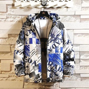 Padding Jacket Blouson Hoody Men's Repeating Pattern Alphabet Zip‐up Jacket