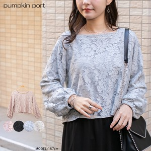 [ 2020NewItem ] Lace Lining Attached Square Neck Long Sleeve Blouse