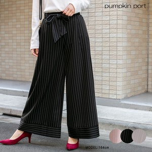 Stripe Border Fabric Belt Attached wide pants