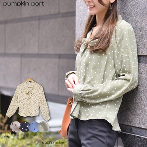 Random Dot Attached Long Sleeve Blouse