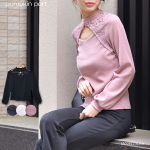 [ 2020NewItem ] Knitted Lace Cut Window Petit High Neck Long Sleeve Pullover